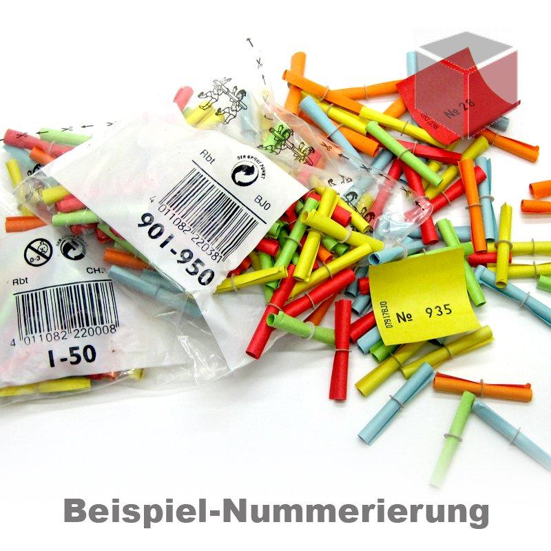 1-1000 1000 Tombolalose Gewinnlose Tombola Lose Röllchenlose Gewinne bunt Nr